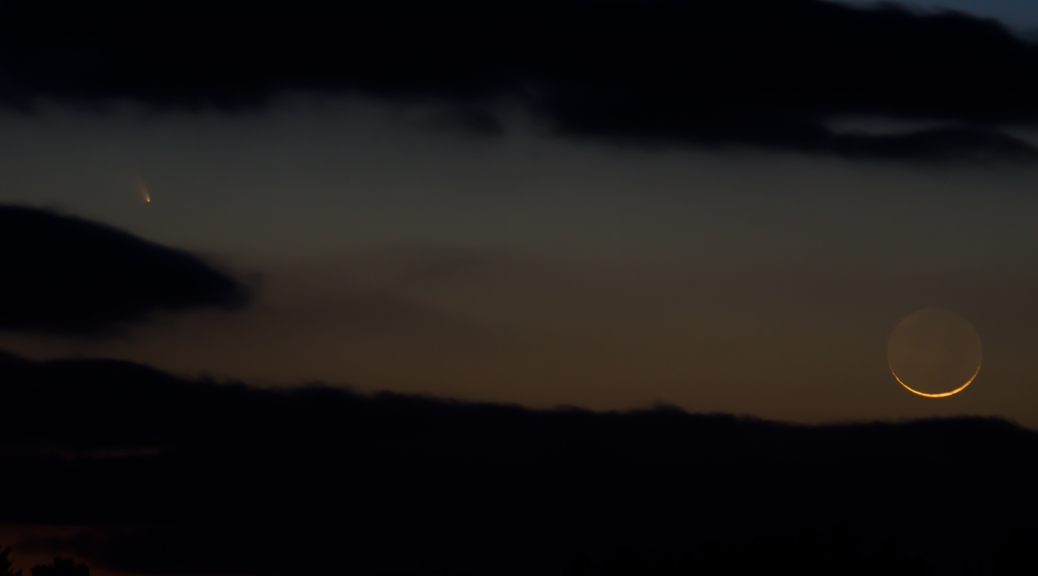 Comet Pan-STARRS and the thin, thin crescent moon at sunset